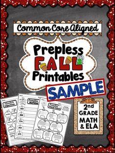 Fall First Grade Printables - Math and Literacy Skills   Pinterest
