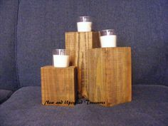 Stained reclaimed 4x4's candle holders