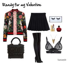 """""""Ready for my Valentine"""" by lawastyle on Polyvore featuring Gucci, adidas Originals, Les Petits Joueurs, Christian Dior and Huda Beauty"""