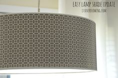 Easy Lamp Shade Update using contact paper to cover shade