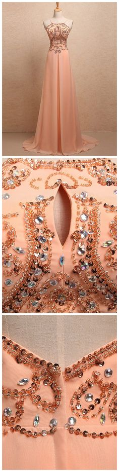 CHIC A-LINE SPAGHETTI STRAPS CHIFFON BEADING MODEST LONG PROM DRESS EVENING DRESS AM658 #amyprom #fashion #party #evening #chic #promdress #promdresslong #longpromdress #eveningdress