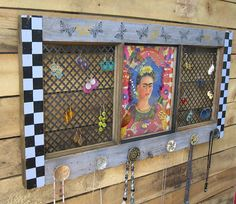 Jewelry Organizer Upcycled salvaged window frame with vintage