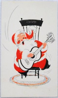 #1278 50s Mid Century Guitar Playing Santa- Vintage Christmas Greeting Card