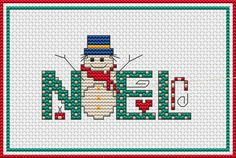 Free Cross Stitch Patterns by AlitaDesigns: NOEL and Snowman Free Cross Stitch PatternEnjoy