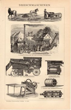1908 Agricultural Tools and Machines Antique Print by Craftissimo, €11.95