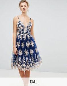 Chi Chi London Tall Premium Scalloped Metallic Lace Midi Dress