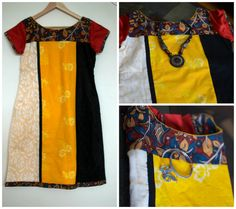 Stylish ethnic kurta with kalamkari boat neck and cord by Sravams