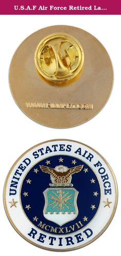 U.S.A.F Air Force Retired Lapel Pin. U.S. Air Force Retired Pin. A Jewelry quality pin with a classic military design! Made of die struck brass, it is enamel color filled with gold plating and is epoxy coated. Includes a clutch back and is individually poly bagged.