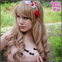 Gothic Lolita Wigs | Spiral Lolita Wig Collection - Honey Bee (Milk Tea) | Model: pixie_late