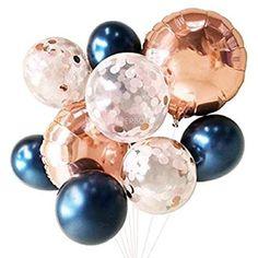 Opmnla 2 Styles Rose Gold Balloons ( Balloon Bouquet Bundle ) - Fall / Autumn Wedding Decor (Navy Blush and Rose Gold) #fallinlovedecor