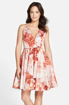 Adrianna Papell Floral Print Fit & Flare Dress available at #Nordstrom