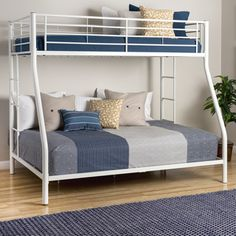When space is at a minimum, this durable double bunk bed is great for any family. The Sunrise steel bunk bed has a comfortable double bed below and a twin bed above, featuring guard rails and safety features. The bed is a sturdy addition to any bedroom. Safe Bunk Beds, Double Bunk Beds, Modern Bunk Beds, Metal Bunk Beds, Bunk Beds With Stairs, Cool Bunk Beds, Kids Bunk Beds, Small Bedroom Designs, Bed Designs
