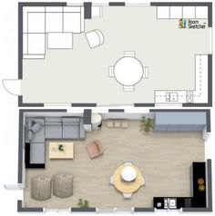 Great example comparison of a one room 2D floor plan & also 3D floor plan! But we'd move the bean bags - You?   Visualize your home improvement project in 2D & 3D: http://planner.roomsketcher.com/?ctxt=rs_com  #floorplan #floorplans #homedesign