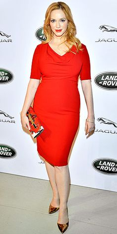 CHRISTINA HENDRICKS wearing a red Black Halo cowlneck dress, matching deep lip and metallic gold pumps, at a Jaguar Land Rover reception in N. - perfection from head to toe! Celebrity Red Carpet, Celebrity Style, Cristina Hendricks, Star Wars, Night Looks, Famous Women, Lady In Red, Cool Girl, Spring