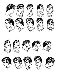 Superman head shots from multiple angles by Jose Luis Garcia-Lopez.