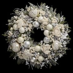 Neill Strain Floral Couture Christmas wreaths are the most exquisite expression of festive elegance and opulence. These frosty white snowflake colours are very much on trend for Designed to hang on your front door or to lie flat as a table…Read Luxury Christmas Decor, Rose Gold Christmas Decorations, Classy Christmas, Christmas Arrangements, Christmas Centerpieces, Christmas Baubles, Christmas Diy, Holiday Wreaths, White Christmas Wreaths