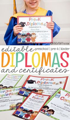 The summer is fast approaching which means the end of the school year here. The end of the school year means it is time to find graduation diplomas for your preschool, prek or kindergarten learners. We love these editable diplomas and certificates! - Mrs. Jones' Creation Station #TpT #GraduationDiplomas
