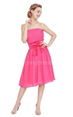cacb23a0c86 Strapless Knee-length Dress With Pleats and Bow