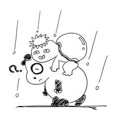 【一日一大熊猫】2017.2.15 かっぱ(河童)はいわゆる未確認生物だね。 西日本ではカッパは大陸からやって来たとされて、猿猴と呼ばれるらしいよ。 そういえば近所に猿猴川があるなぁ。 カッパ出るかしら? ちなみに雨合羽はポルトガル語のcapaが元だとか。 #パンダ #カッパ