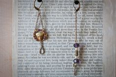 Victorian purple and gold earrings