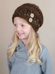 Hand Knit Toddler Slouchy Beehive Hat in Chocolate With Two Coconut Buttons - Knit Toddler Hat - Knit Slouch Toddler Hat - Knit Kids Hat by BoPeepsBonnets on Etsy, $26.00