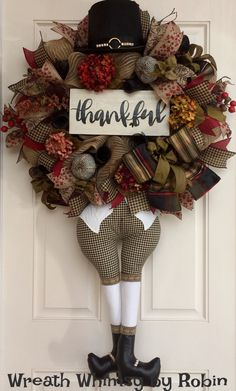 Thanksgiving Pilgrim Burlap Mesh Floral Wreath with Thankful Sign, Fall Wreath, Front Door Wreath, Thanksgiving Decor, XL Fall Wreath by WreathWhimsybyRobin on Etsy
