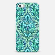 #floral #mint #blue #aqua #vintage #Moroccan #iPhone #case #casetify #micklyn