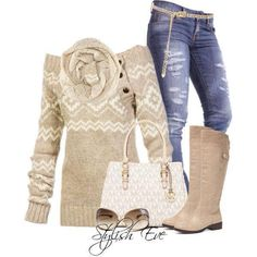 Jeans with beige sweater and boots