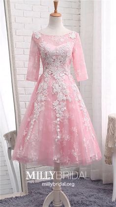 Short Homecoming Dresses Pink, Lace Formal Dresses A-line Cocktail Party Dresses Modest Pink Homecoming Dresses Short Formal Dresses for Teens, A-line Prom Dresses Lace, Tulle Cocktail Party Dresses Elegant Homecoming Dresses Long, Pink Prom Dresses, A Line Prom Dresses, Tulle Prom Dress, Prom Dresses Online, Modest Dresses, Short Prom, Tulle Lace, Pink Lace