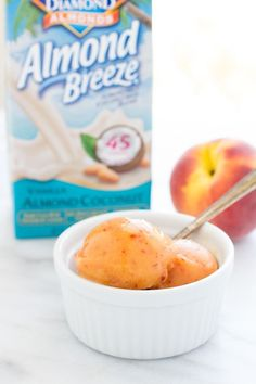 No Churn Fresh Peach Sorbet- made with just 4 simple ingredients! Dairy-free, refined sugar-free and only 100 calories per serving!