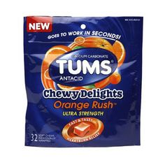 Buy Tums Calcium Carbonate Antacid Chewy Delights, Orange Rush - 32 ea | Helps relieve acid Indigestion and sour stomach. myotcstore.com - Ezy Shopping, Low Prices & Fast Shipping. #heartburn #health