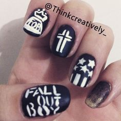 nice fall out boy nails, FOB, emo , holy trinity of emo, nail art, american beauty am...