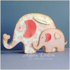 New baby card  cute handmade Elephant Shaped by pollypurplehorse, £3.99