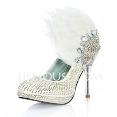 Wedding Shoes - $149.99 - Leatherette Stiletto Heel Closed Toe Pumps Wedding Shoes With Beading Feather Rhinestone Sequin (047020109) http://jjshouse.com/Leatherette-Stiletto-Heel-Closed-Toe-Pumps-Wedding-Shoes-With-Beading-Feather-Rhinestone-Sequin-047020109-g20109
