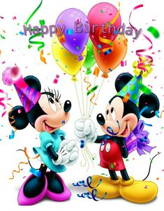 Disney Birthday Wishes, Birthday Card Gif, Happy Birthday Mickey Mouse, Free Happy Birthday Cards, Happy Birthday Cousin, Birthday Wishes Greetings, Happy Birthday Wishes Quotes, Happy Birthday Celebration, Happy Birthday Pictures