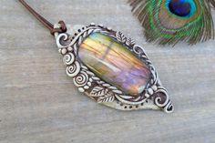HUGE Labradorite Amulet Necklace. Crystal by EnchantedEvolution11