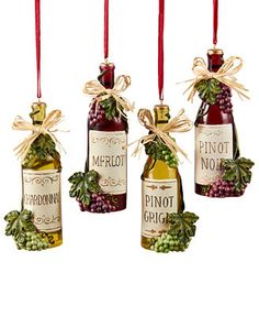 Kurt Adler Set of 4 Wine Bottle Ornaments