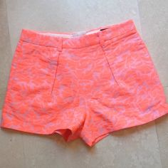 "J. Crew NWT Neon Orange Jacquard Shorts sz 0 SALE! Super cute and sexy neon orange over lavender jacquard shirts from J Crew.  Dress up with a silk cami and a wedge or down with a white tank and flats.  NWT. 3"" inseam.  Great colors for a tan. J.Crew Other"