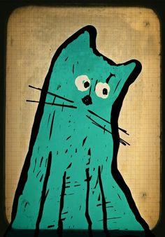 Turquoise cat portrait