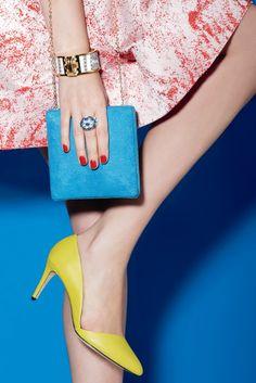 Women's Fashion: Mid Town (REBECCA MINKOFF's embossed asymmetrical pump. Dress by Alice & Olivia, Lauren Merkin bag, Stella & Dot ring)