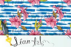 Flowers on striped grunge background by Lian-art on @creativemarket