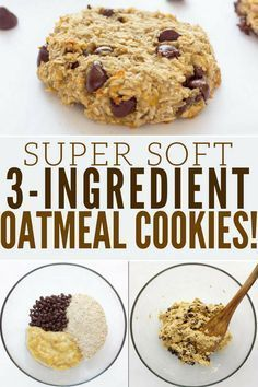 Ready under 20 minutes these healthy chewy and soft banana & oatmeal cookies are made with only 3 simple ingredients. Flourless eggless low-calorie and low-fat these delicious cookies are made without butter brown sugar or baking soda. Most homemade Healthy Dessert Recipes, Healthy Sweets, Healthy Baking, Gourmet Recipes, Baking Recipes, Low Calorie Baking, Low Calorie Vegan, Recipes With Bananas Healthy, Low Calorie Cookies