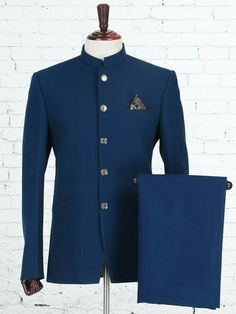 Shop Solid blue knitted jodhpuri suit online from India. Mens Indian Wear, Indian Groom Wear, Indian Men Fashion, Mens Fashion Suits, Mens Suits, Men's Fashion, Wedding Dresses Men Indian, Wedding Dress Men, Wedding Suits