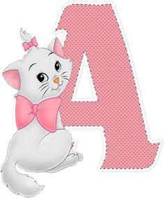 Disney Cats, Disney Cartoons, Aristocats Party, Marie Cat, Walt Disney Animation, Christmas Frames, Alphabet Art, Birthday Numbers, Cat Birthday