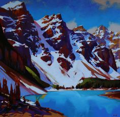 "Mike Svob JUNE AT MORAINE LAKE / Canada House Gallery - acrylic, canvas 40"" x 40"""