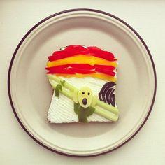 La blogger norvegese Ida Skivenes ha trasformato delle semplici fette di  pane in vere e proprie tele su cui ricreare opere d'arte famose. Il  progetto - The art toast project - è stato pubblicato su Instagram. Da  Frida Kahlo a Monet, da Rotko a Dalì, da Matisse a Picasso: in 20 cm Id