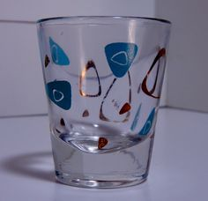Vintage Mid Century Atomic Shapes Liquor Shot Glass Gold and Turquoise Blue Boomerang Shapes by OffbeatAvenue on Etsy