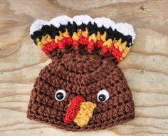 Newborn Baby Thanksgiving Turkey Hat for Autumn Crochet Photo Prop on Etsy, $28.00