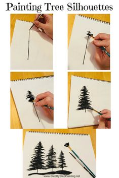 How To Paint Silhouette Trees With A Fan Brush (With Video) Hello artist friends!Painting trees with a fan brush and a tiny brush is very easy with this simple technique! Learn how to paint EASY acrylic paint silhouette trees.Step By Step Painting - Canva Acrylic Painting Techniques, Painting Lessons, Painting Tips, Painting Prints, Acrylic Paintings, Art Paintings, Watercolor Painting, Watercolor Tips, Acrylic Canvas