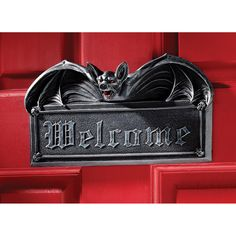 Guests get a Gothic welcome when our fiery-eyed gothic bat wraps his majestic wings around our plaque! Our Design Toscano exclusive vampire bat sta Spooky House, Halloween House, Halloween Ideas, Halloween Bats, Halloween Vampire, Halloween Season, Halloween Bedroom, Creepy Houses, Halloween Supplies